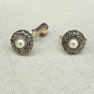 Faux pearl and black crystal clip on earrings